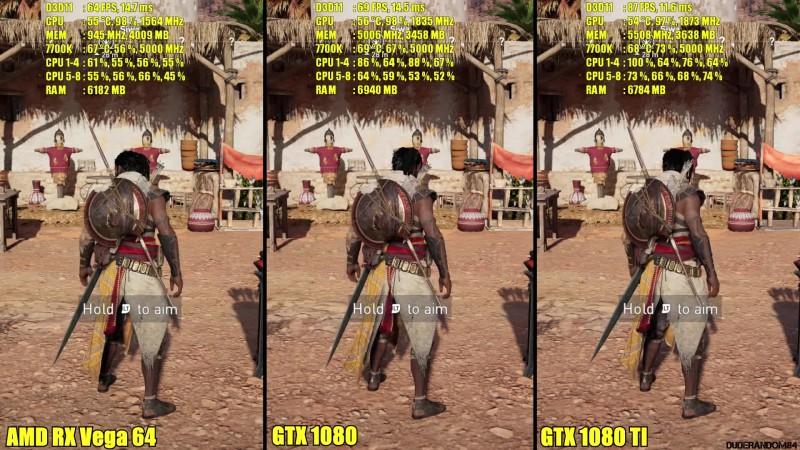 Сравнение частоты кадров - Assassin's Creed Origins PC GTX 1080 TI Vs AMD  RX Vega 64 Vs GTX 1080 (1440p)
