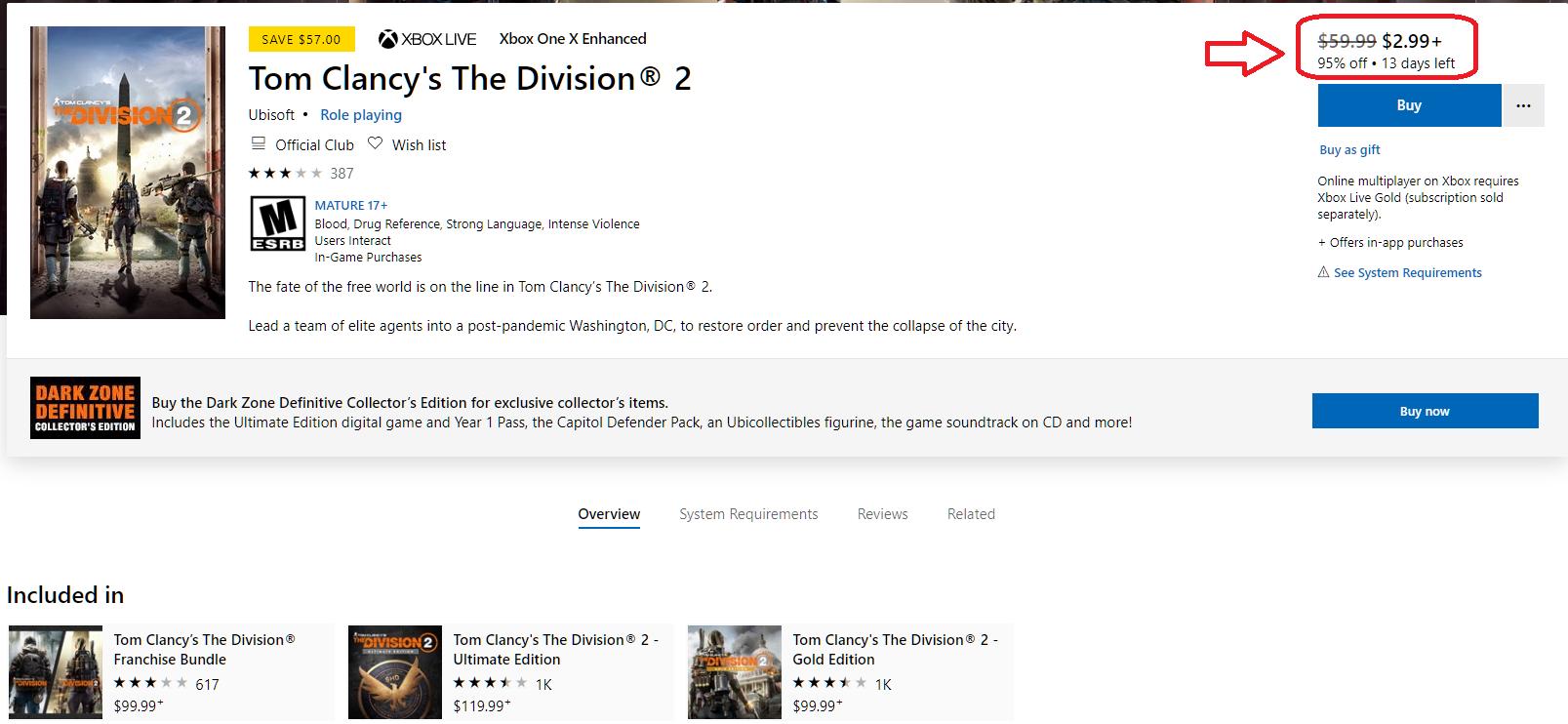 The Division 2: Microsoft Store предлагает купить игру со скидкой в 95%