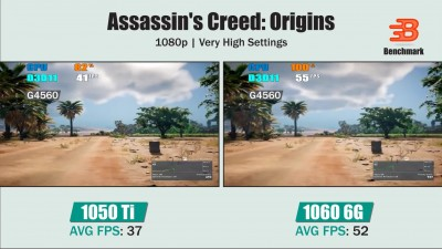 GTX 1050 Ti vs GTX 1060 | Pentium G4560 | Assassin's Creed Origins