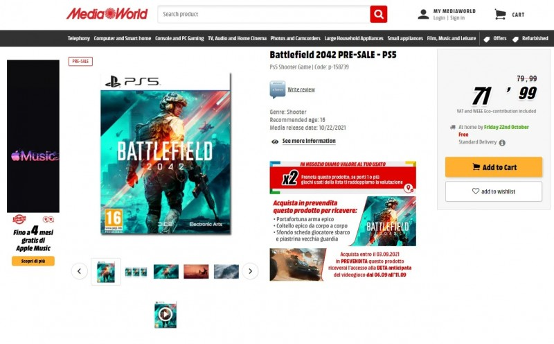 Итальянский ретейлер слил дату бета-теста Battlefield 2042