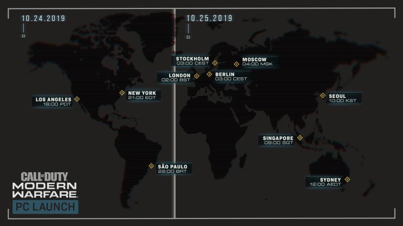 Официальное изображение о дате и времени выхода игры с учётом разности часовых поясов