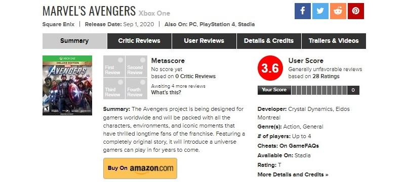 Игроки громят Marvel's Avengers на Metacritic