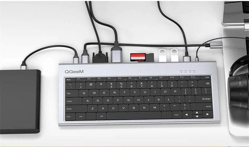 Клавиатура QGeeM имеет 11 портов, включая HDMI, USB-C и много чего ещё