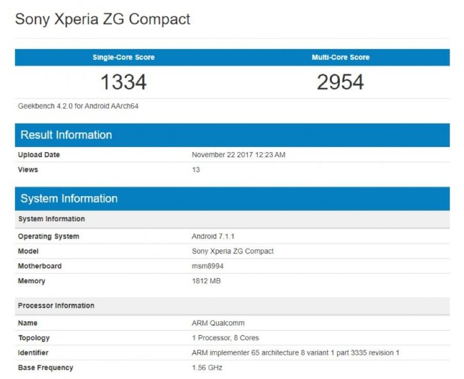 Сони работает над телефоном XperiaZG Compact