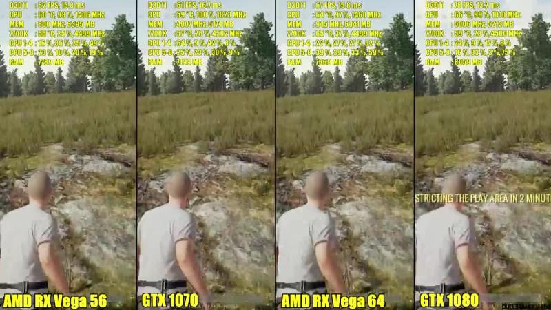 PUBG AMD RX Vega 64 Vs GTX 1080 Vs AMD RX Vega 56 Vs GTX 1070 Сравнение  производительности
