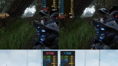 Crysis 3 - Бенчмарк. Intel Core i3-8350K vs. i7-7700K.
