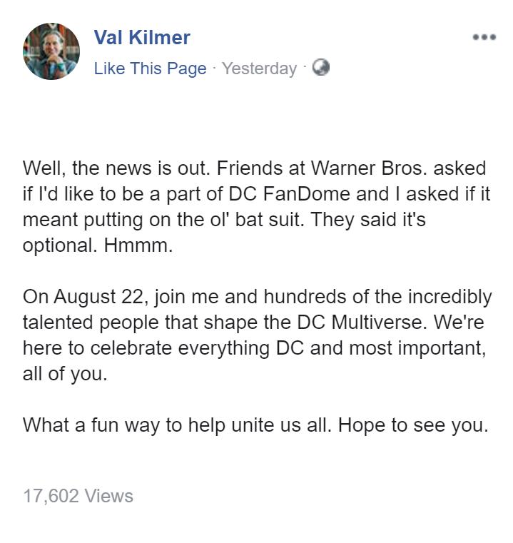 Вэл Килмер присоединится к DC FanDome и, возможно, даже наденет для этого свой старый Бэткостюм