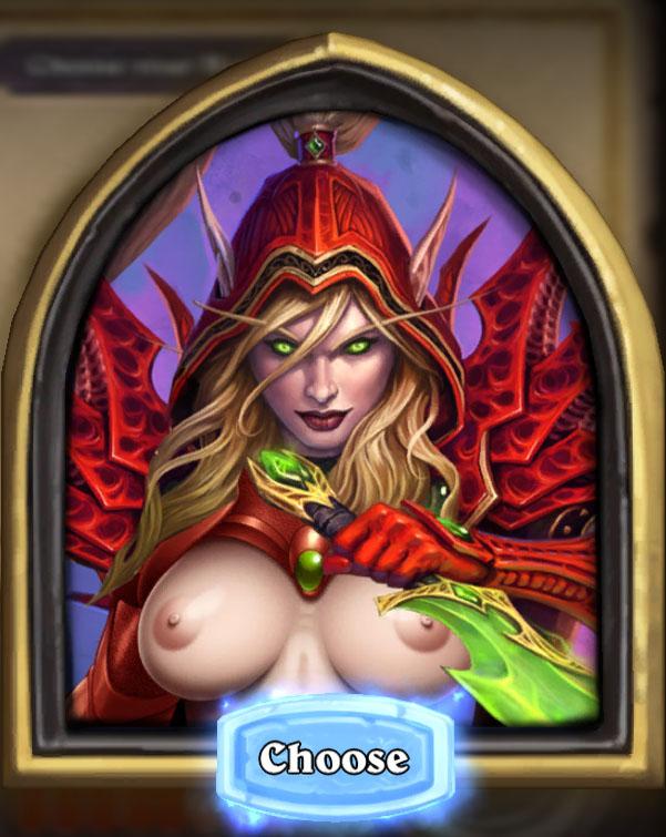 Голая эльфика крови на одной из карт в Hearthstone: Heroes of Warcraft с nude-патчем