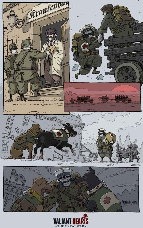 Страница комикса по игре Valiant Hearts: The Great War