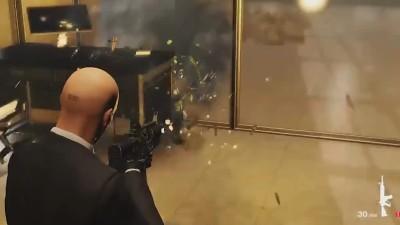 Hitman 2 - Демонстрация разрушаемости на локации Bank