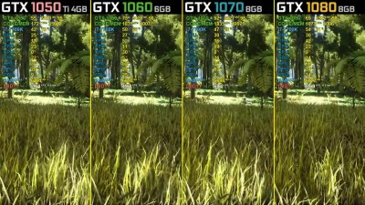 ARK: Survival Evolved - GTX 1050 Ti vs. GTX 1060 vs. GTX 1070 vs. GTX 1080