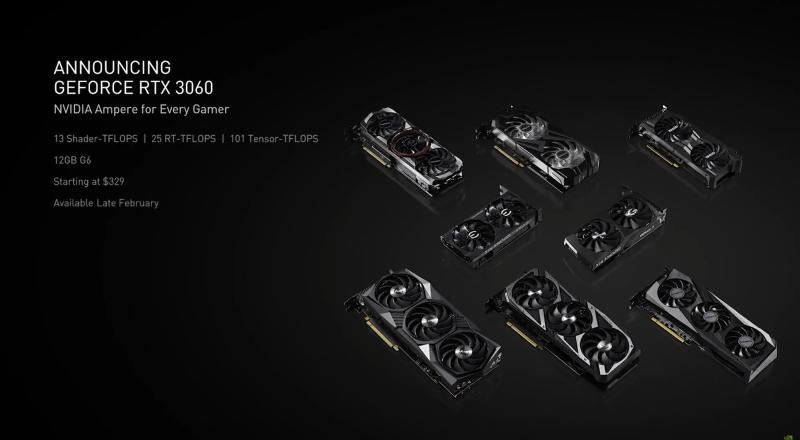NVIDIA официально анонсировала GeForce RTX 3060 с 12 ГБ видеопамяти