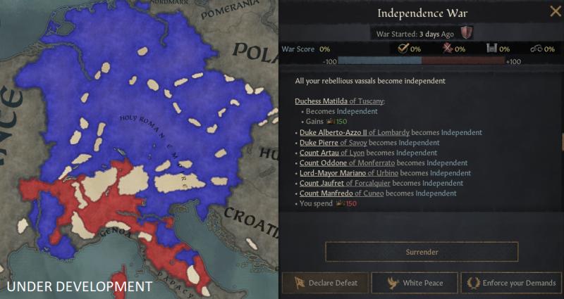 Скриншот из текущей войны фракции за независимость против СРИ, отображающий сосредоточения повстанцев в Италии