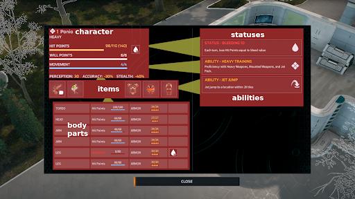 В меню персонажа можно увидеть разные показатели выбранного бойца и как они связаны друг с другом