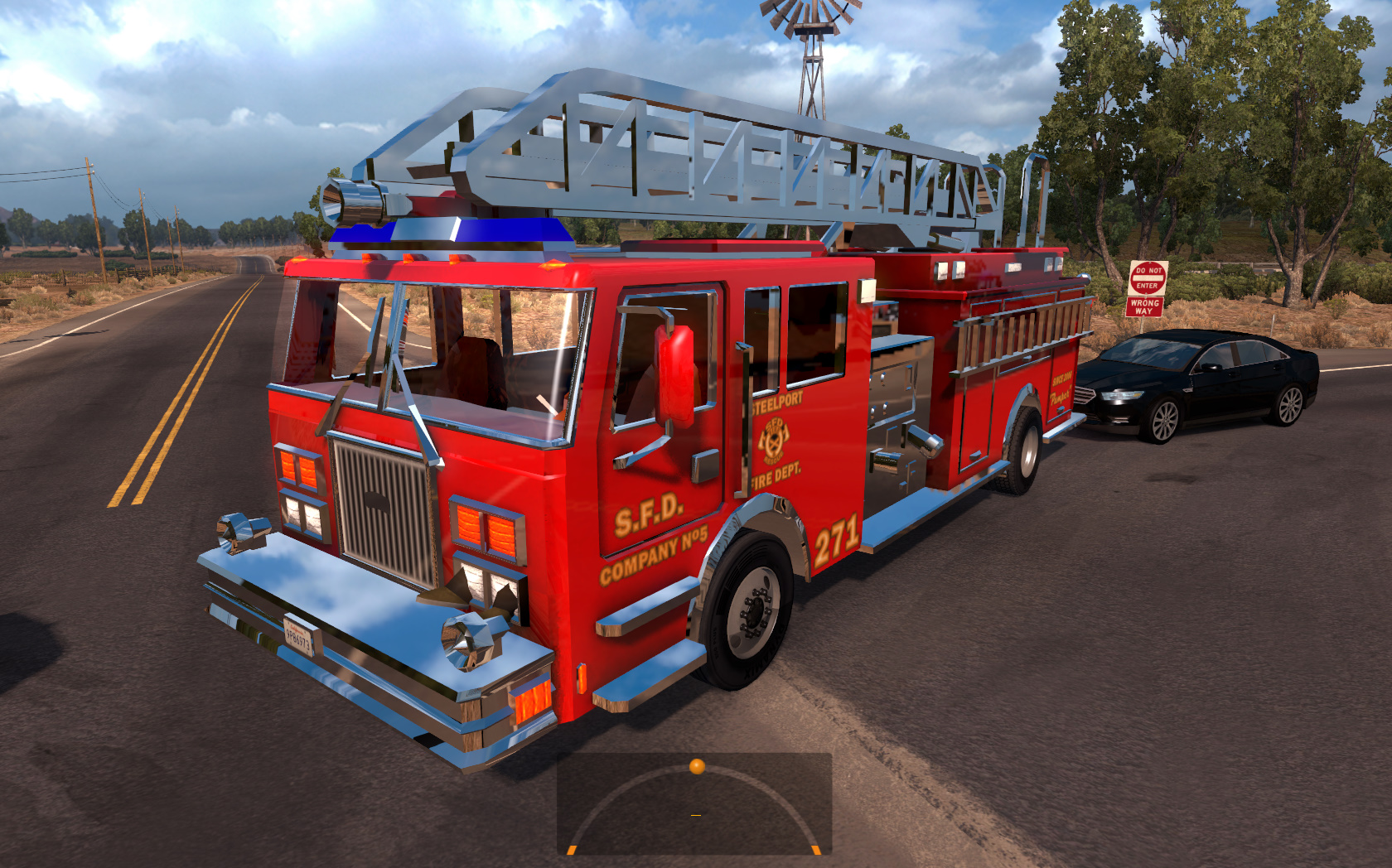 Two fire trucks in traffic (with siren and flashing lights) for ATS 1.4