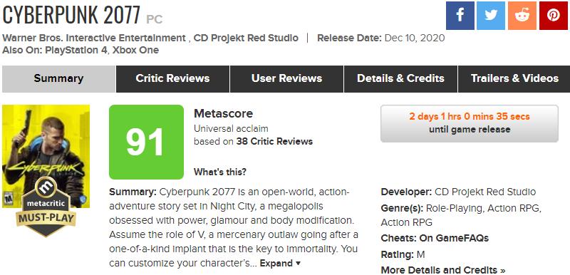 Первые оценки Cyberpunk 2077: у CD Projekt RED снова получилось