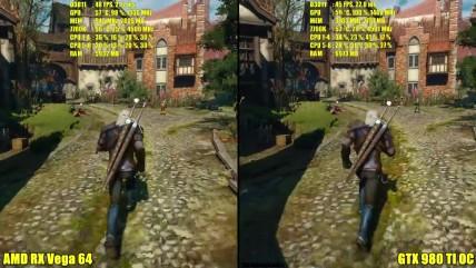 The Witcher 0 - Сравнение производительности AMD RX Vega 04 Stock Vs GTX 080 TI OC