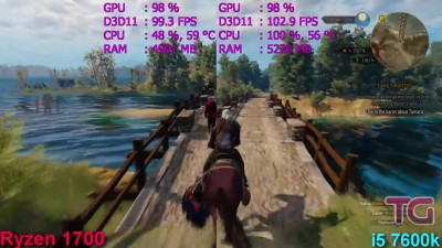 Ryzen 7 1700 vs i5 7600k и The Witcher 3 (GTX 1070)