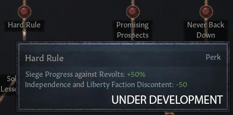 [Суровое правление — Прогресс осады против восстаний: +50%, Недовольство фракций за независимость и освобождение: -50]