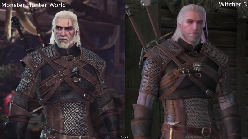 Сравнение Геральта в Monster Hunter: World и Witcher 3