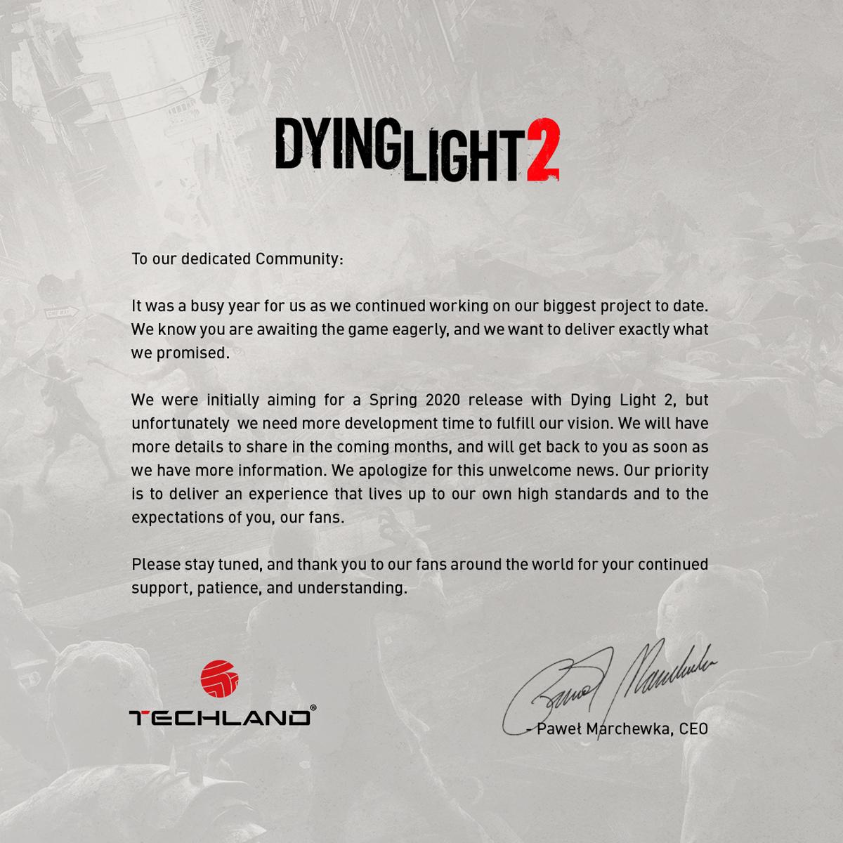 Dying Light 2 официально перенесён на неопределённый срок