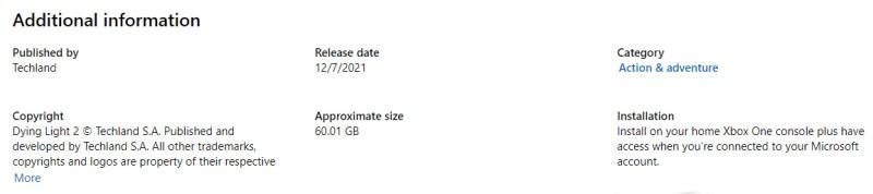 Стал известен размер загрузочного файла Dying Light 2 на Xbox One, Xbox Series X/S