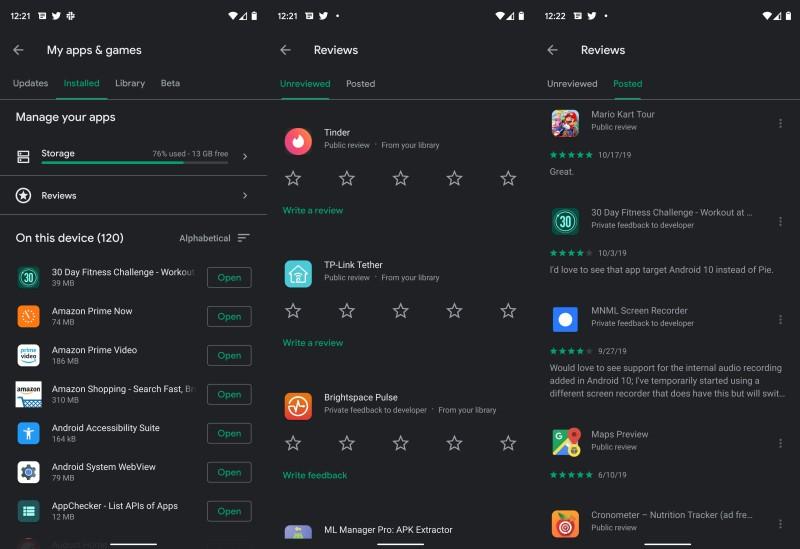 Ваши отзывы о приложениях в Google Play теперь содержатся в отдельном разделе