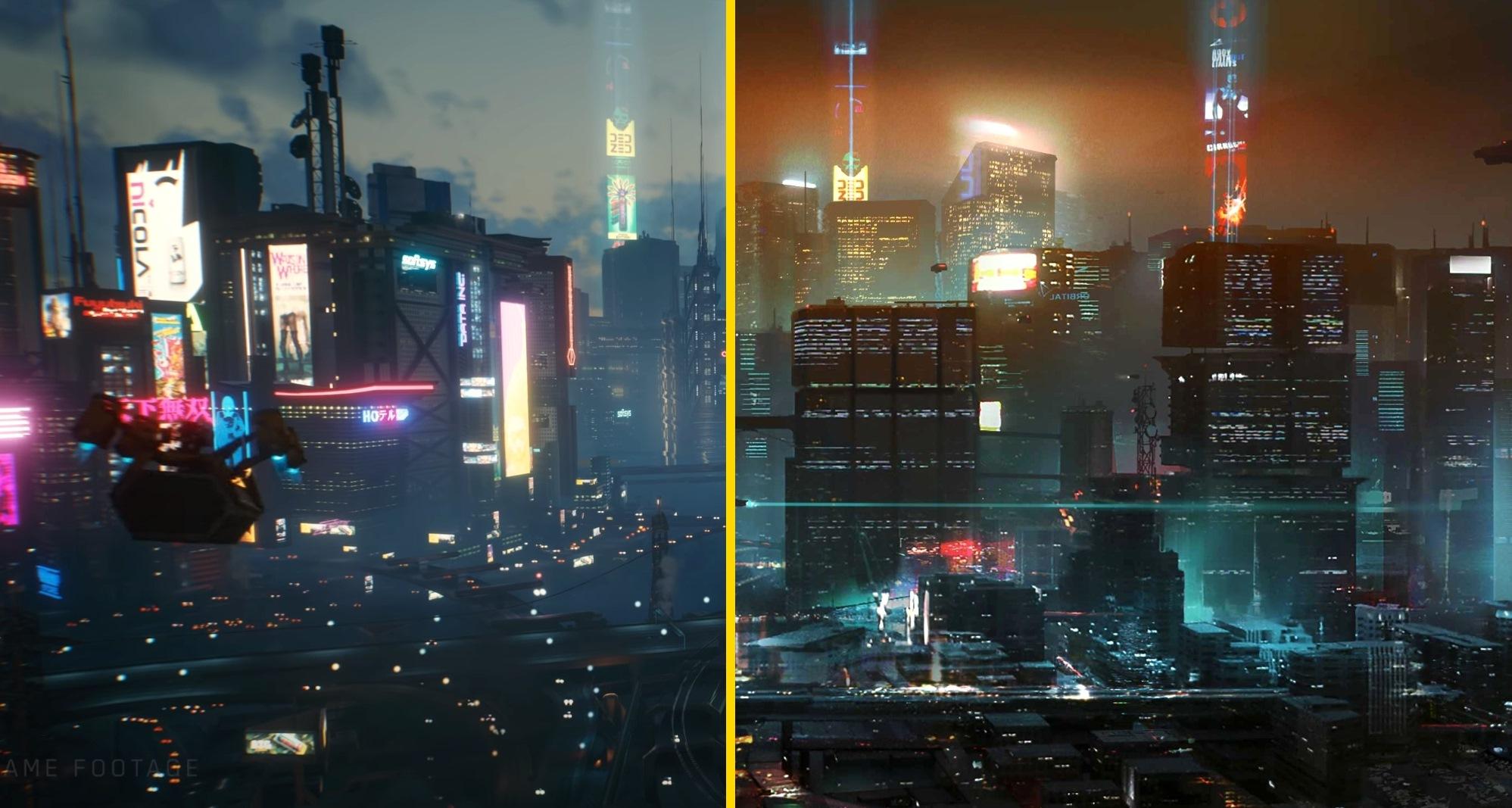 Концепт-арты Cyberpunk 2077 сравнили с игровыми локациями