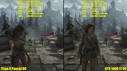 Rise Of The Tomb Raider GTX 0080 TI OC Vs Titan X Pascal OC 0K Частота кадров