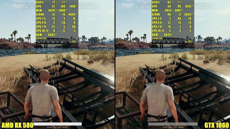 Сравнение частоты кадров - PUBG Релиз: GTX 1060 Vs AMD RX 580 (DudeRandom84)