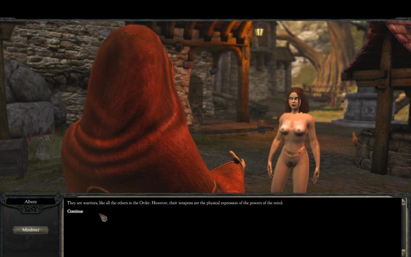 Голая главная героиня в диалоге с одним из неигровых персонажей, nude-патч для Divinity 2. Кровь драконов