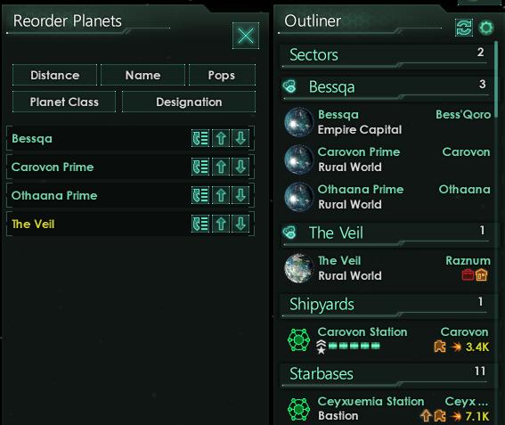 Планеты можно перемещать внутри списка сектора или всего списка планет, в зависимости от того, какая опция выбрана.