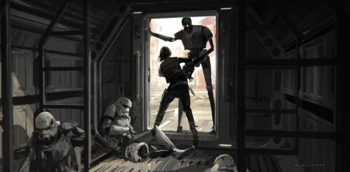 Early rendering of Jyn escaping from the prisoner transport and fighting with K-2SO