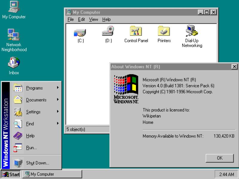 Вид рабочего стола Windows NT 4.0