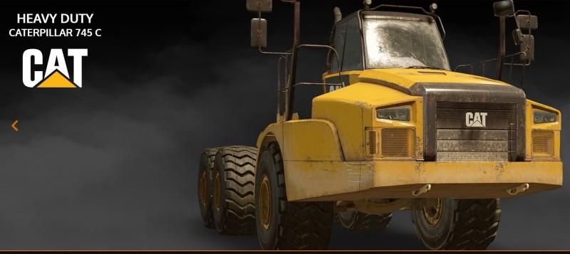 Caterpillar 745 C, который может выполнять роль как и седельного тягача, так и flatbed'а