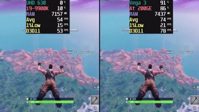 Fortnite - Сравнение i9 9900K (HD 630) vs Athlon 200GE (Vega 3)