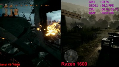 Battlefield 1 - сравнение Intel i5 7500 VS Ryzen 5 1600