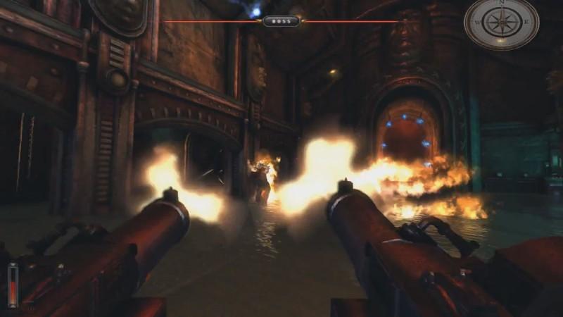 Стрельба с двух пулемётов... выглядит знакомо. Интересно, что с крайним перезапуском серии Wolfenstein Necrovision роднит ещё и система здоровья