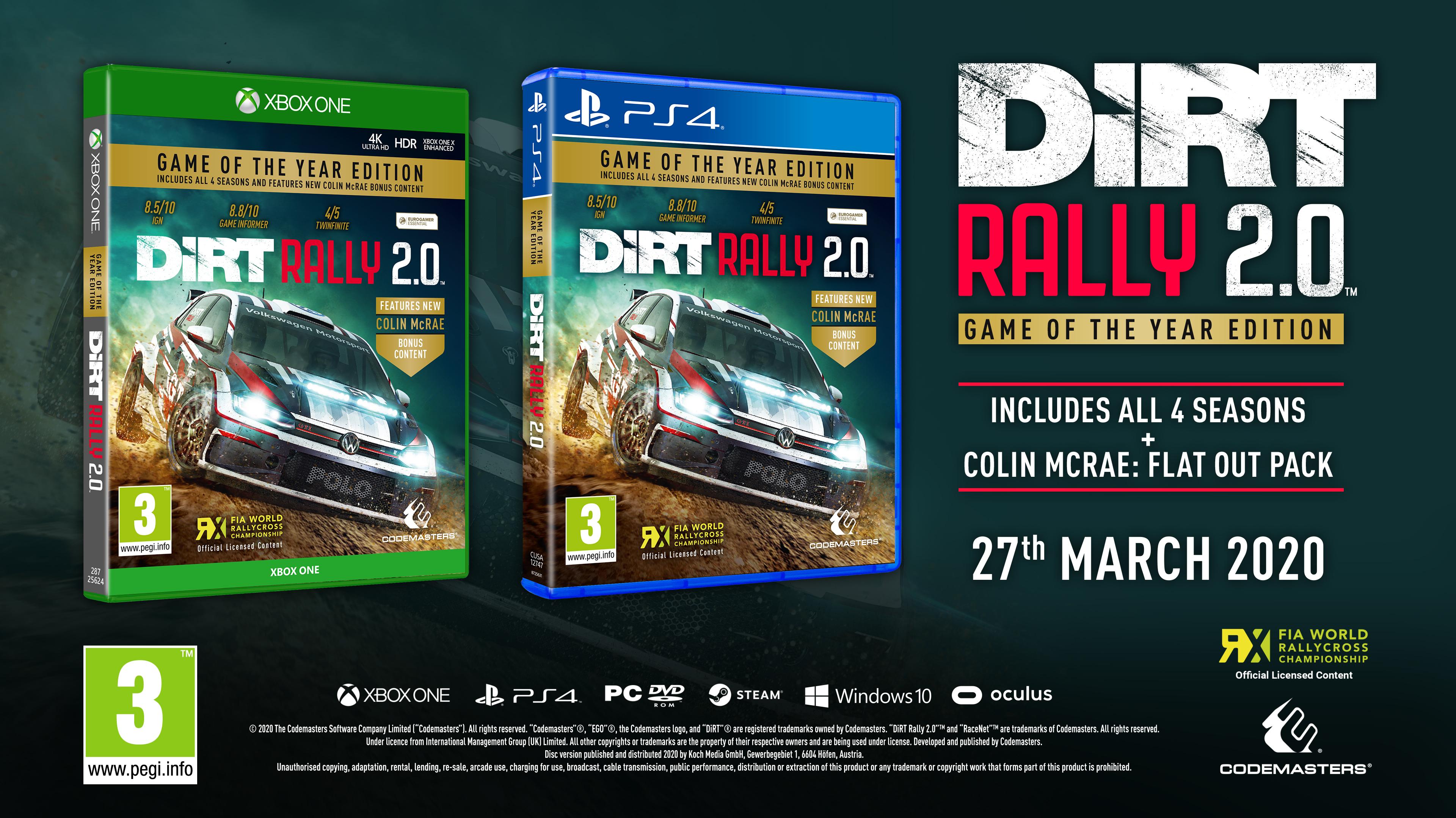 Анонсировано полное издание DiRT Rally 2.0 Game of the Year Edition