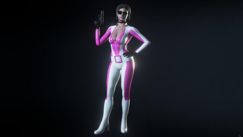 Бело-розовый костюм
