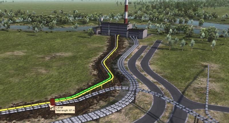 Прилегающие дорога, железная дорога и трубы