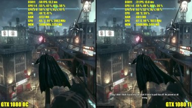 Batman Arkham Knight GTX 1080 TI Vs GTX 1080 OC 4K Сравнение
