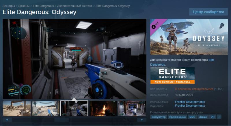 Игроки приняли Elite Dangerous: Odyssey с большим недовольством
