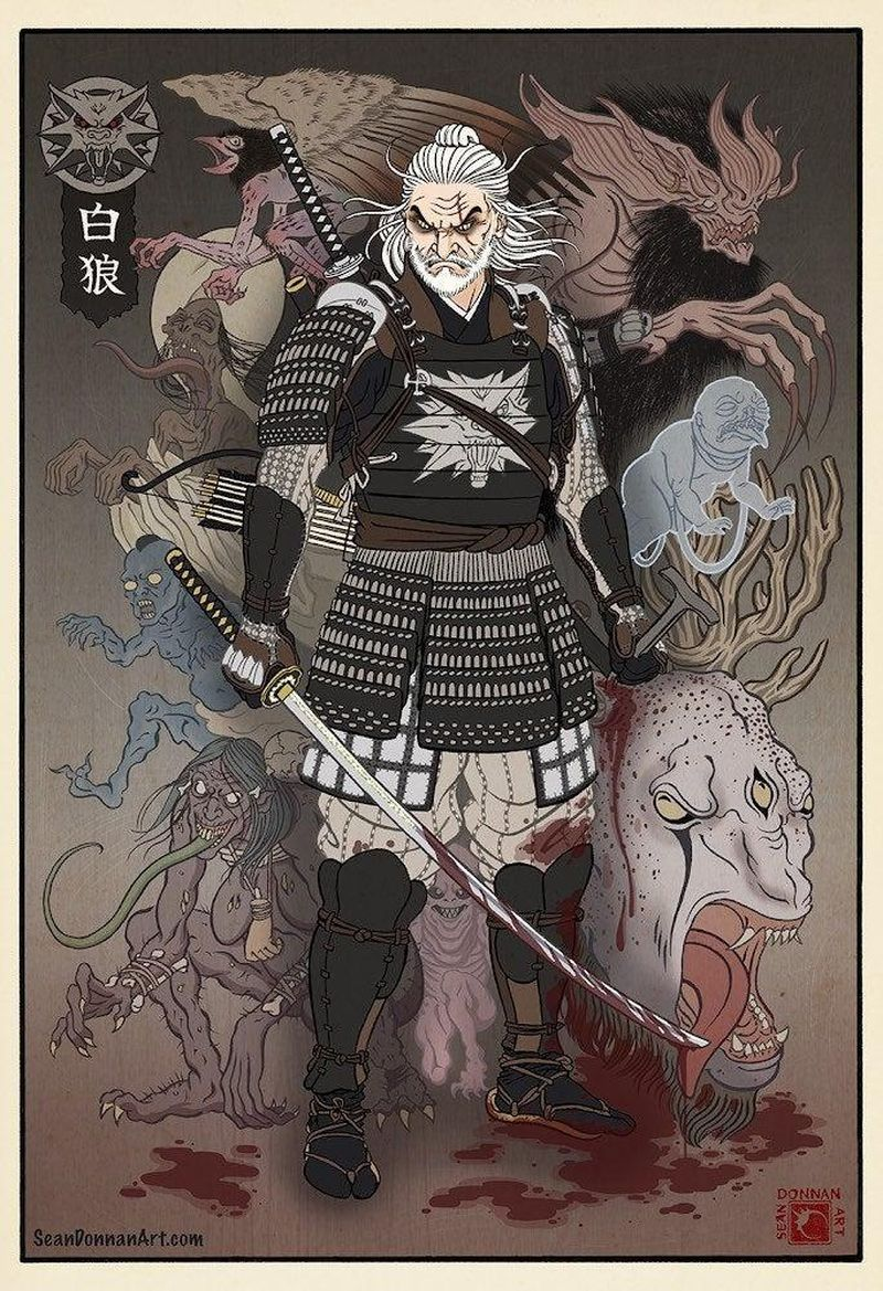 """Между Западом и Востоком - героев """"Ведьмака"""" изобразили в стиле японских гравюр"""
