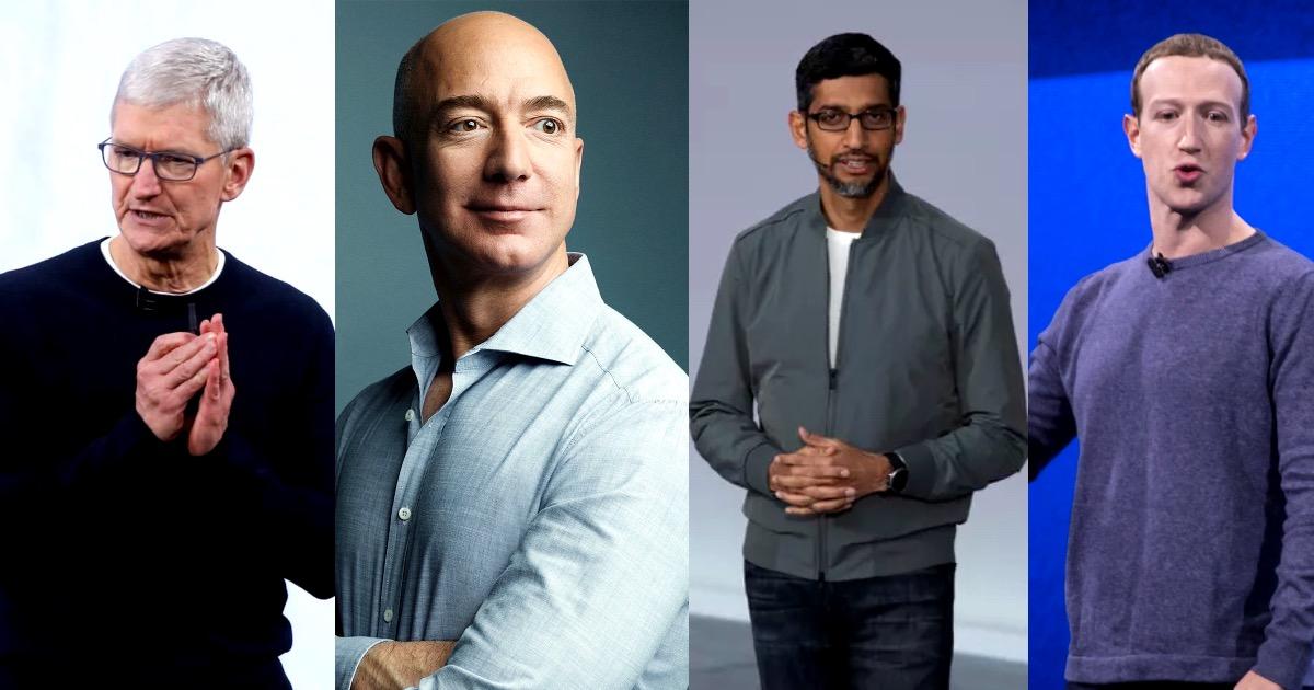 Антимонопольное слушание - законодатели решают вопросы генеральных директоров Apple, Amazon, Facebook и Google