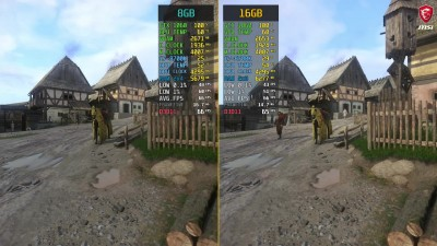 Сравнение - Kingdom Come Deliverance 8GB RAM vs. 16GB RAM