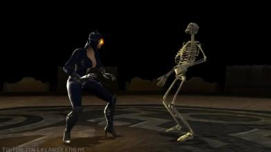 "Mortal Kombat vs. DC Universe ""Все персонажи делают фаталити и геройское бруталити Скелету"""