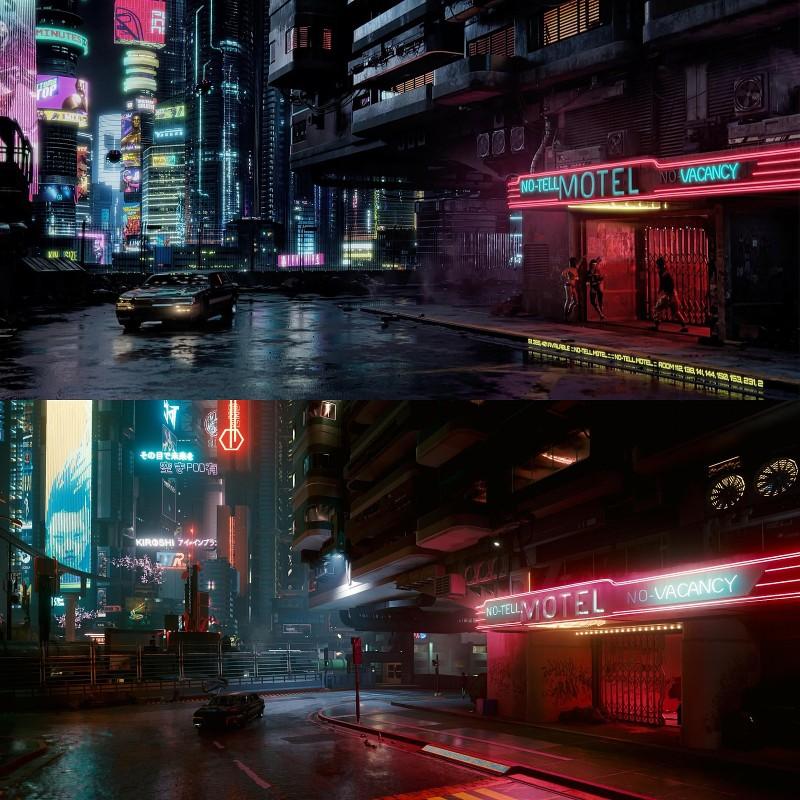 Ожидание vs реальность: фанаты Cyberpunk 2077 воссоздали сцены из трейлеров внутри игры