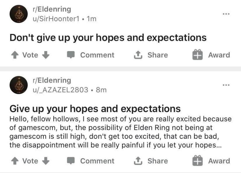 Грусть-печаль: Игроки разочарованы отсутствием Elden Ring от FromSoftware на Gamescom 2020