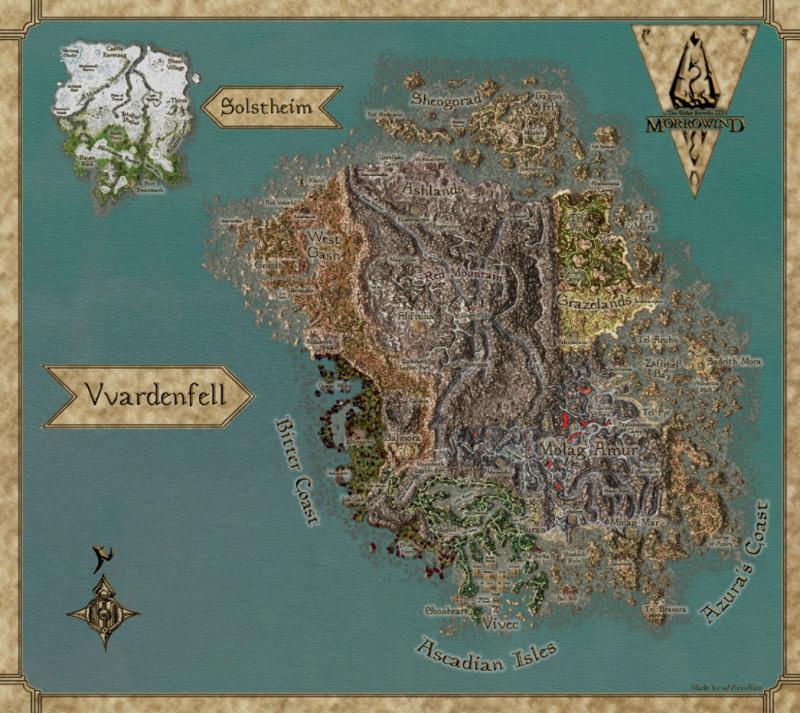 Художник создал бесплатную карту Morrowind для печати на нескольких языках